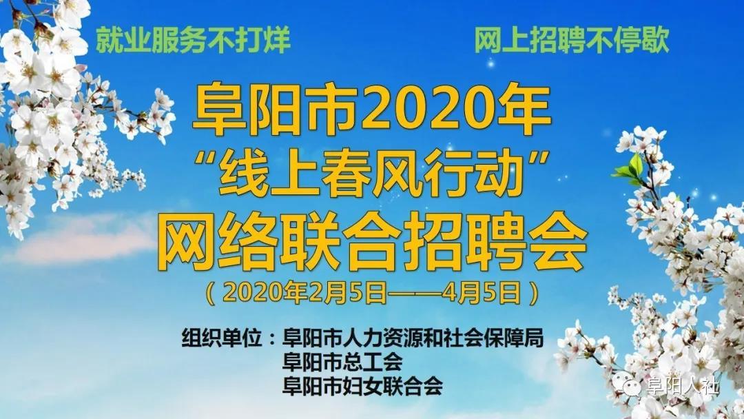 """阜阳市2020年""""线上春风行动""""网络联合招聘会企业需求信息("""